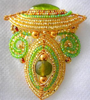 Lime and Gold Pendant. by zayday