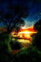 Outstanding Sunset Above The Lake by SaNio4k