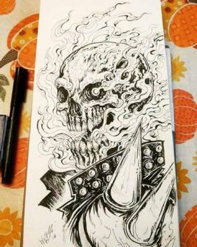 ghost rider inktober  by TheWolfMaria