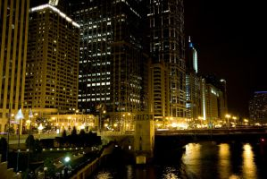 Chicago Riverfront at Night 4 by lightzone