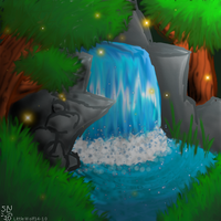 Waterfall in the Forest by LittleWolf14-10