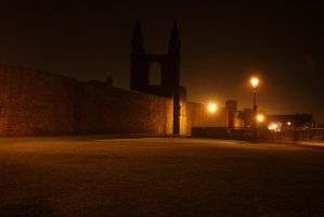 Cathedral ruins at night by kla91