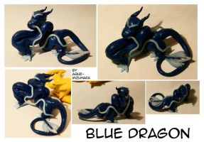 Blue Asian Dragon sculpture by aque-mizuhara