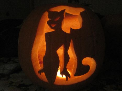 Catwoman Pumpkin Carving by TelevisionBox