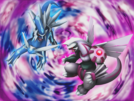 3D Dialga and Palkia Wallpaper by Keh-ven