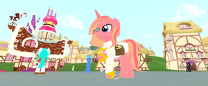 dancing in town center of ponydale by brianamcginnis