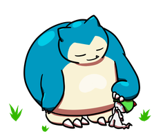 Snorlax and the adopted Ralts by MiniDragonfly
