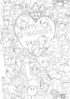 Super Smash Bros.- Happy Valentine Day! (pencil) by HaroPetCreatorLT