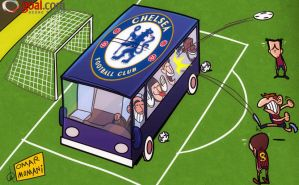 Chelsea bus arrives at Camp Nou by OmarMomani