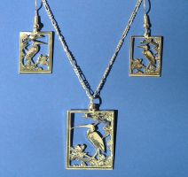 Heron Earring Pendant Set by DragonsFlyDesigns