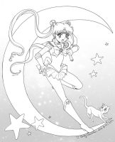 Sailor Moon and Luna Lineart by OtakuEC