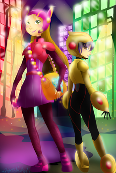 Honey Lemon and Gogo Tamago by HezuNeutral