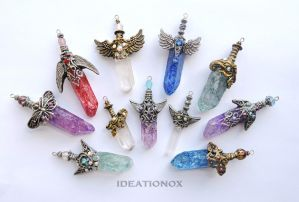 Crystal Sword Charms by Ideationox