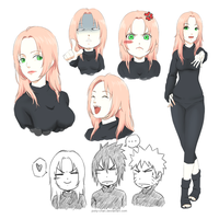 Sakura + Team 7 by polly-chan