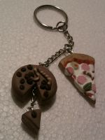Keychain with cake and pizza fimo by bimbalove81