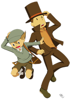 Professor Layton and Luke by Poefish