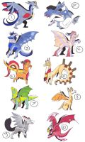 10 young dragon points adobtables by AlmondFeather