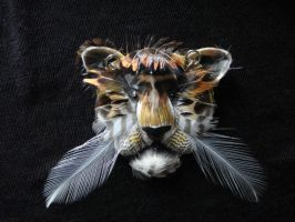 Tiger- pistachio shell and feathers by Sindy111