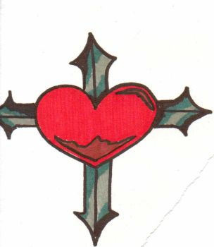 heart and metal cross by RetsMonster