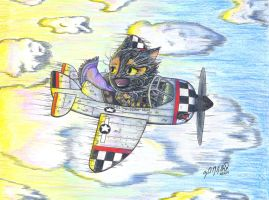 Feline Flying Ace (a commission) by ShenaniBOOM
