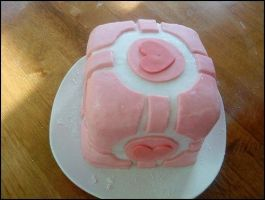 CompanionCube Cake PINK portal by ChloeAntonia