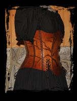 leather corset side view by Lagueuse