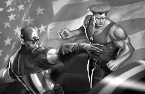 Guile X Captain America by geeshin