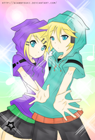 Kagamine Twins Lineart Colored by IbuVanWEEDS