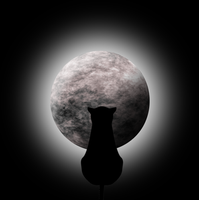 STOCK-Moon with glow and cat by Viktoria-Lyn