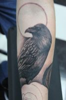 crow tattoo by pantsatpants