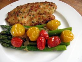 Apseragus and two kinds of tomatoes side of fish by chrisravensar