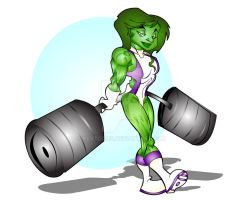 green she-hulk by kevtoons