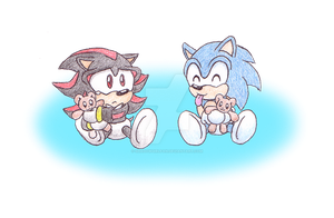 Baby Sonic and Shadow by Shadowgirlfan