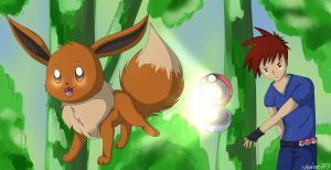 Eevee and Gary by shaina773