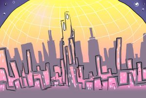 DOME City Scape by Projectile-Vomiting