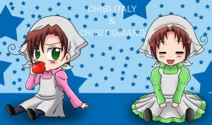 A.T- Chibi Italy and Romano by anvilgurl