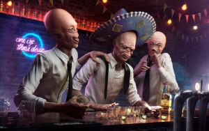 CG CHallenge - Ten  Drunk aliens by rafajija