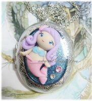 mermaid locket necklace by AlchemianShop