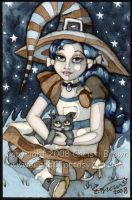 Little Witch and Kitten ACEO by candcfantasyart