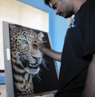 Me - working on my latest scratchboard by shonechacko