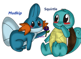 Re Mudkip and Squirtle by The-Real-Shaydee