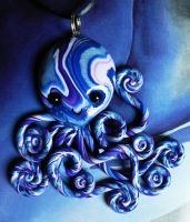 Azure Blue Octopus Necklace by BlackMagdalena