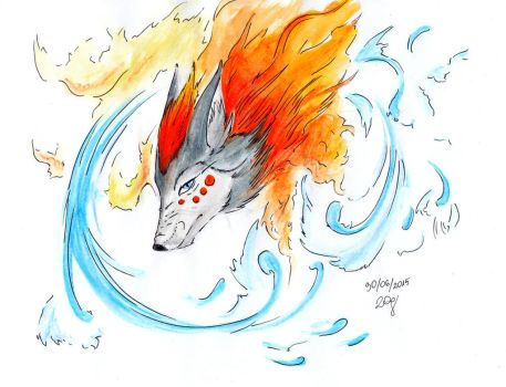 Fire-Water Wolf Tattoo by Yui-the-Echidna