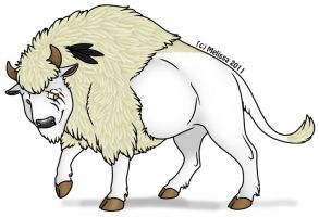 White Bison by CreatureCreatingBabe