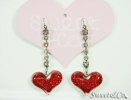 Glitter Heart Crystal Earrings by SweetandCo