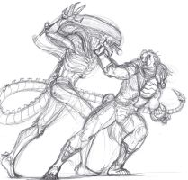 Alien vs. Predator sketch by ConstantM0tion