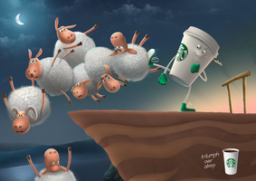 Starbucks - Triumph over sleep by IgorYozzi
