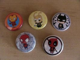 Super Hero/Sort of Villain Buttons by OddCurio