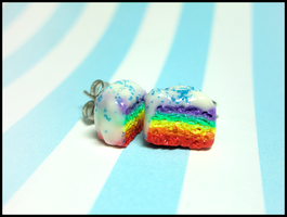 Rainbow Cake Stud Earrings by GrandmaThunderpants