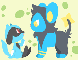 Request - Luxio and Riolu by drill-tail